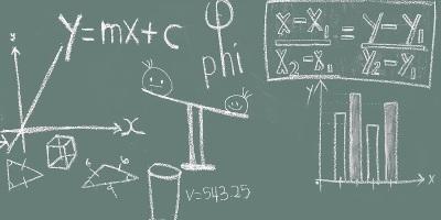 A board displaying complex formulas.